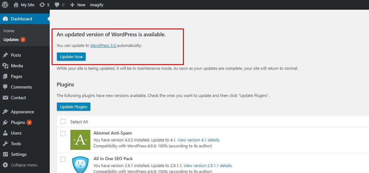 WordPress 5.0 Upgrade Notification